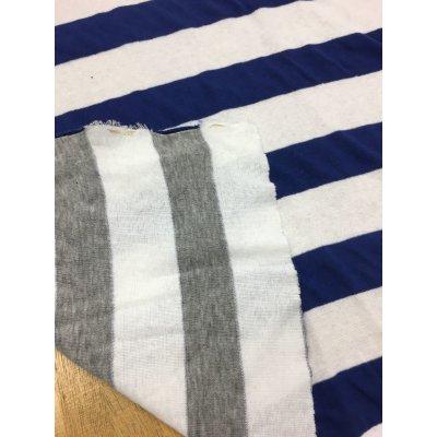 画像1: 生地:ボーダー両面ニット(グレー/白、ブルー/白)