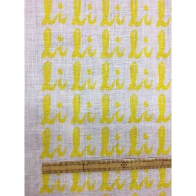 画像1: 生地:総柄麻プリント(黄色)1パネル88×148