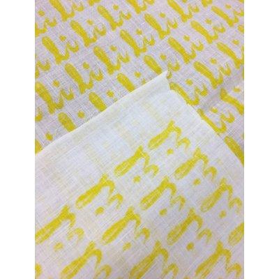 画像4: 生地:総柄麻プリント(黄色)1パネル88×148