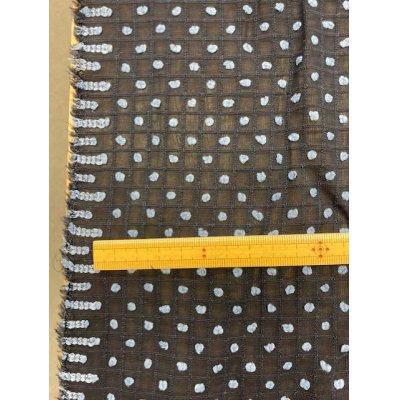 画像1: 生地:レーヨン水玉カットボイル(紺/水色)