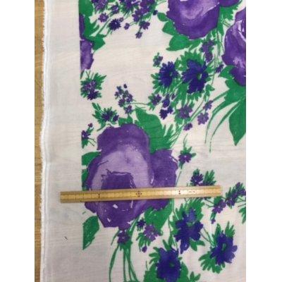 画像1: 生地:花柄アセテート(白/紫)