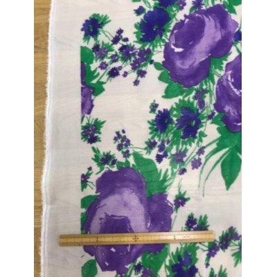 画像2: 生地:花柄アセテート(白/紫)